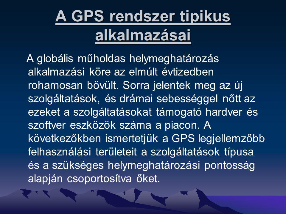 A GPS rendszer tipikus alkalmazásai A globális műholdas helymeghatározás alkalmazási köre az elmúlt évtizedben rohamosan bővült. Sorra jelentek meg az