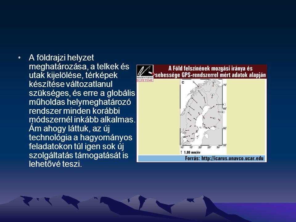 A földrajzi helyzet meghatározása, a telkek és utak kijelölése, térképek készítése változatlanul szükséges, és erre a globális műholdas helymeghatároz