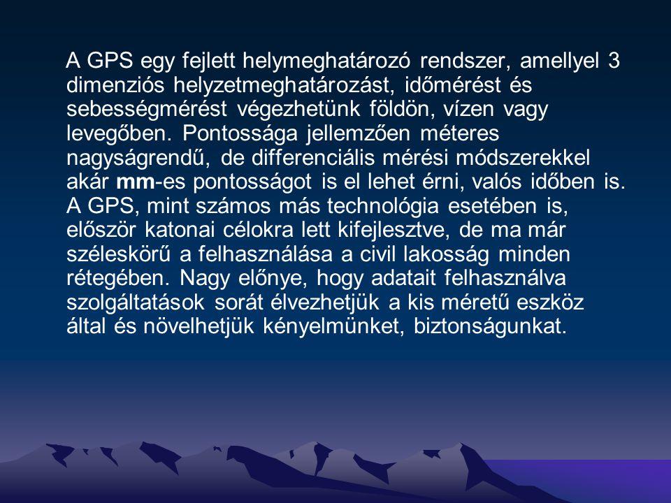 A helyzet meghatározásának módja A GPS rendszer a felhasználó helyzetét távolságmérés alapján határozza meg.