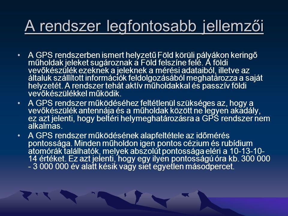 A működés alapjai A GPS műholdak jele adatokat tartalmaz, melyek a vevőkészüléket tájékoztatják a műhold aktuális helyzetéről és a műholdon mérhető pontos időről.