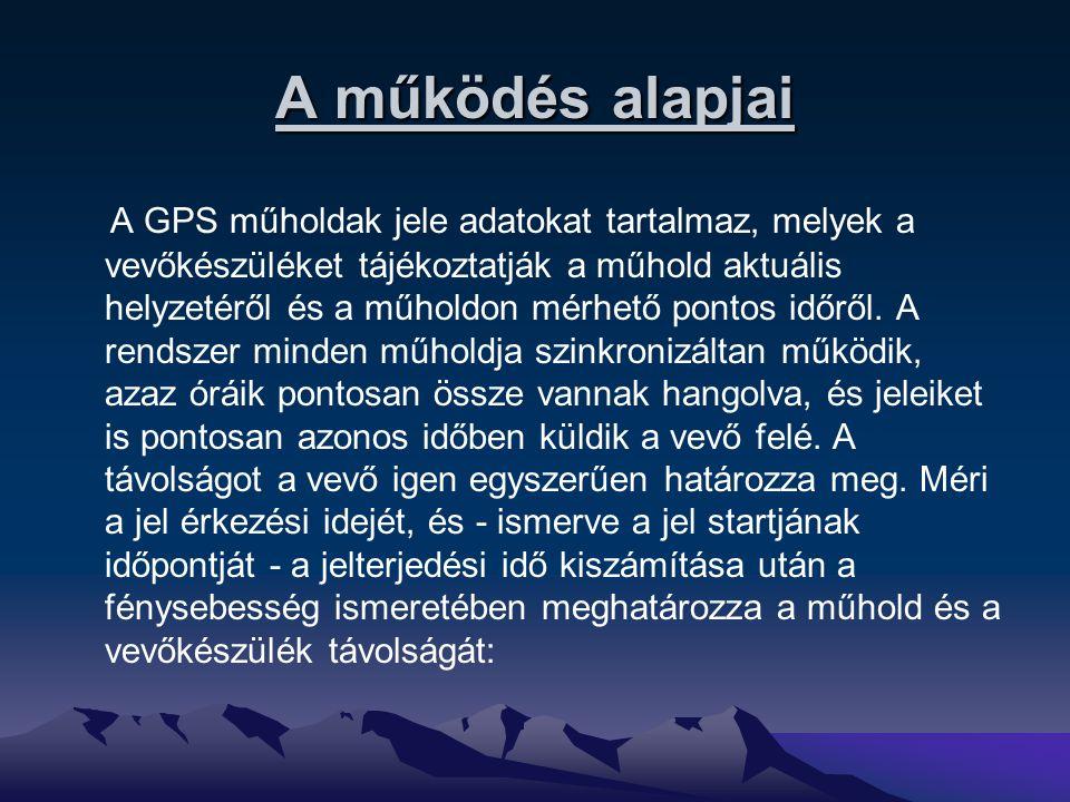 A jelek frekvenciája A GPS rendszerben kétféle frekvenciájú (vivőfrekvenciájú) jelet használnak: f1 = 1575,42 MHz = 1.575.420.000 rezgés/másodperc, hullámhossza: lambda1 = 19 cm, f2 = 1227,60 MHz = 1.227.600.000 rezgés/másodperc, hullámhossza: lambda2 = 24,4 cm.
