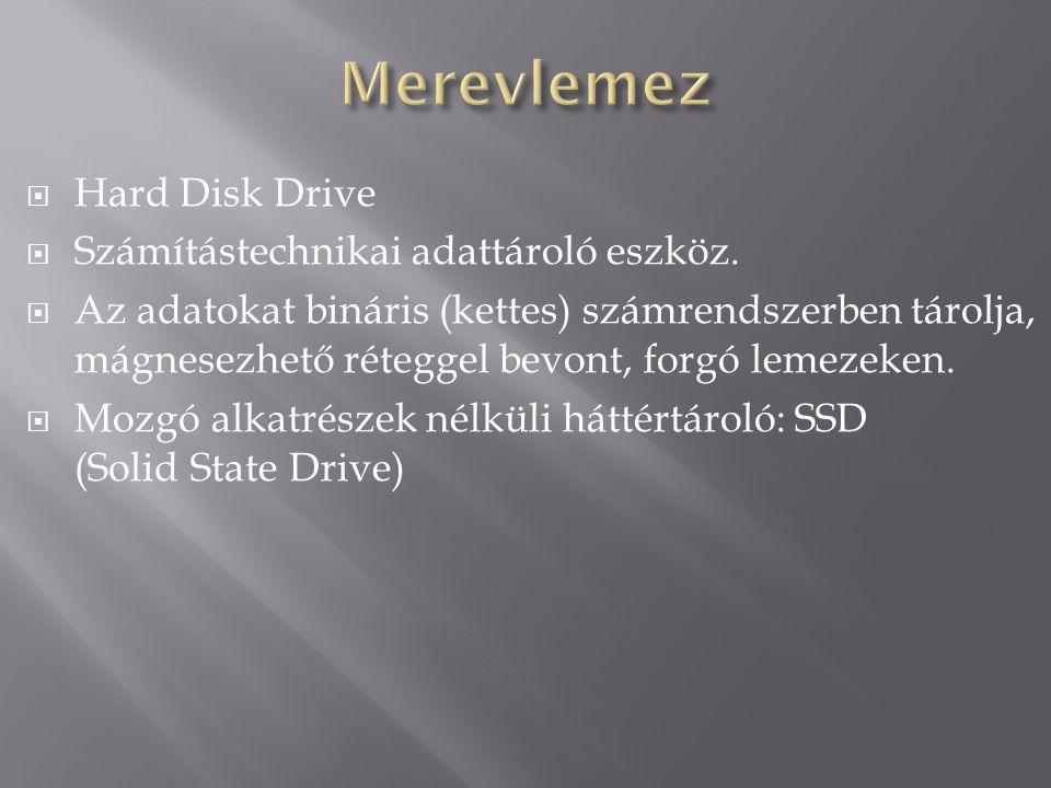  Hard Disk Drive  Számítástechnikai adattároló eszköz.