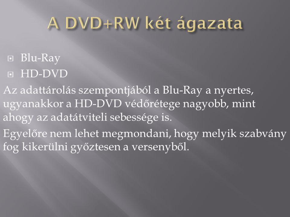  Blu-Ray  HD-DVD Az adattárolás szempontjából a Blu-Ray a nyertes, ugyanakkor a HD-DVD védőrétege nagyobb, mint ahogy az adatátviteli sebessége is.