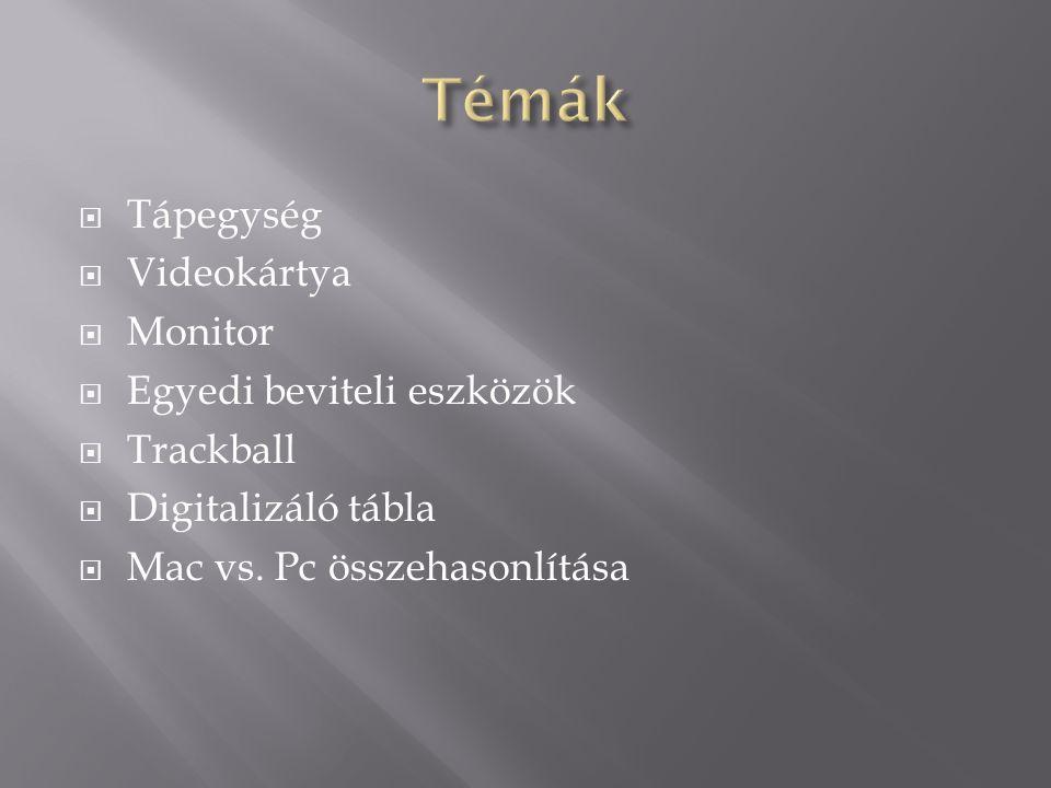  Tápegység  Videokártya  Monitor  Egyedi beviteli eszközök  Trackball  Digitalizáló tábla  Mac vs.