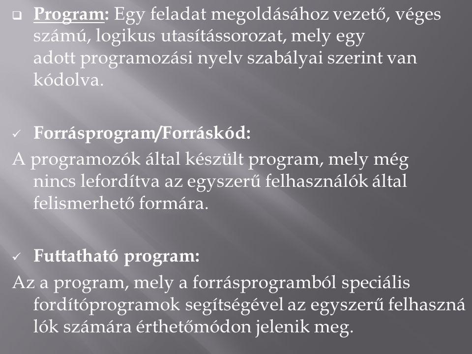  Program: Egy feladat megoldásához vezető, véges számú, logikus utasítássorozat, mely egy adott programozási nyelv szabályai szerint van kódolva.