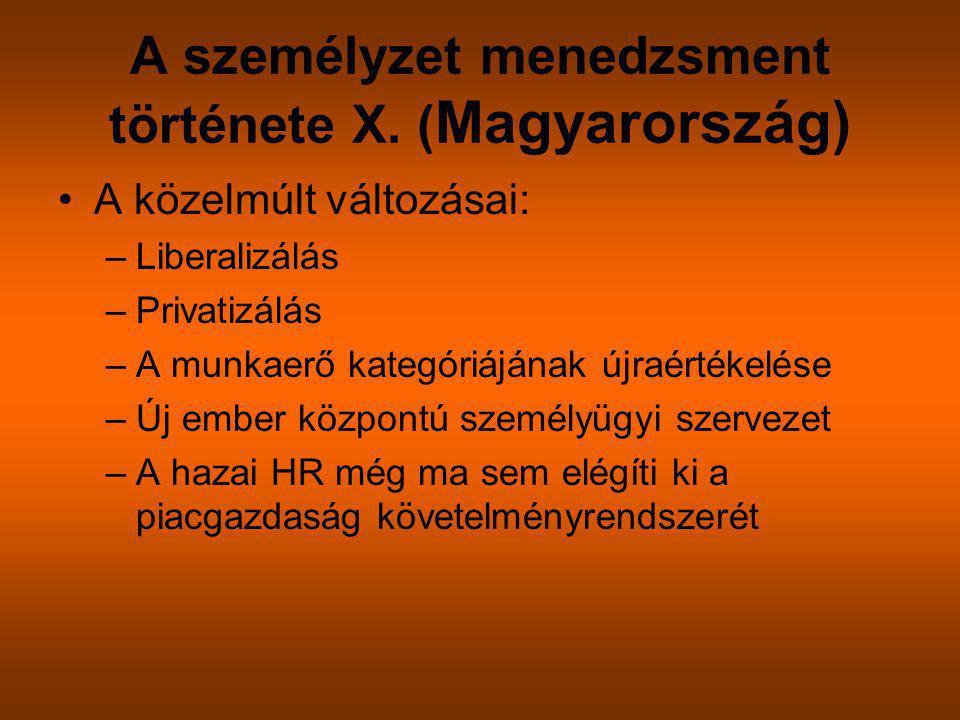 A személyzet menedzsment története X. ( Magyarország) A közelmúlt változásai: –Liberalizálás –Privatizálás –A munkaerő kategóriájának újraértékelése –