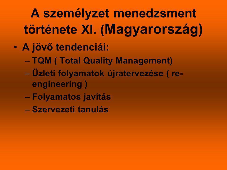 A személyzet menedzsment története XI. ( Magyarország) A jövő tendenciái: –TQM ( Total Quality Management) –Üzleti folyamatok újratervezése ( re- engi