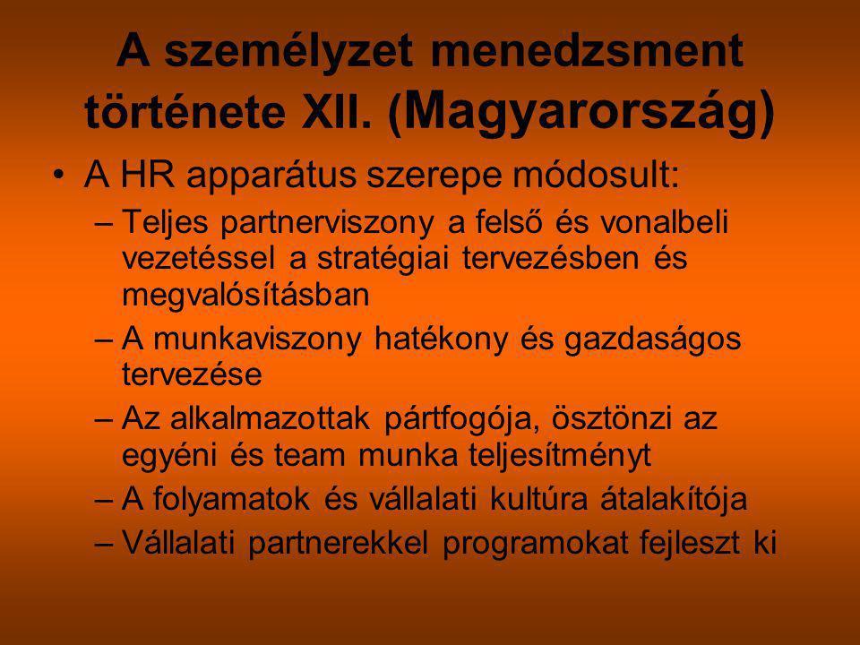 A személyzet menedzsment története XII. ( Magyarország) A HR apparátus szerepe módosult: –Teljes partnerviszony a felső és vonalbeli vezetéssel a stra