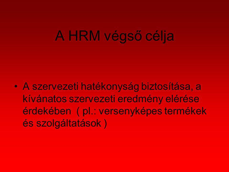 A HRM végső célja A szervezeti hatékonyság biztosítása, a kívánatos szervezeti eredmény elérése érdekében ( pl.: versenyképes termékek és szolgáltatás