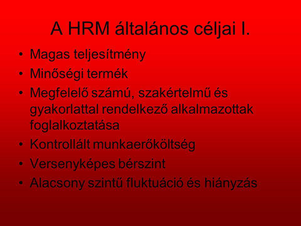 A HRM általános céljai I. Magas teljesítmény Minőségi termék Megfelelő számú, szakértelmű és gyakorlattal rendelkező alkalmazottak foglalkoztatása Kon