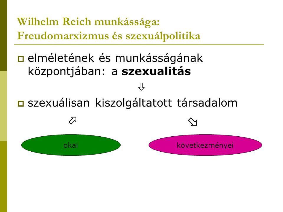 Wilhelm Reich munkássága: Freudomarxizmus és szexuálpolitika  elméletének és munkásságának központjában: a szexualitás   szexuálisan kiszolgáltatot