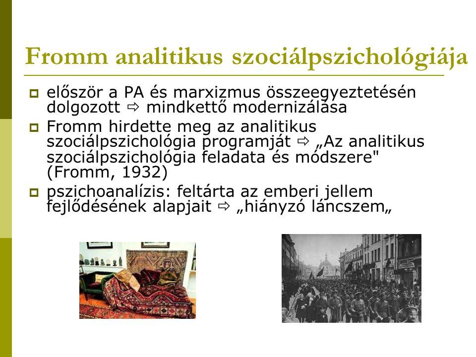 Fromm analitikus szociálpszichológiája  az emberek fejében lévő ideológia  gazdasági- társadalmi szféra objektív állapota   miért reprodukálódik egyéni szinten a gazdasági uralmat fenntartó represszió.