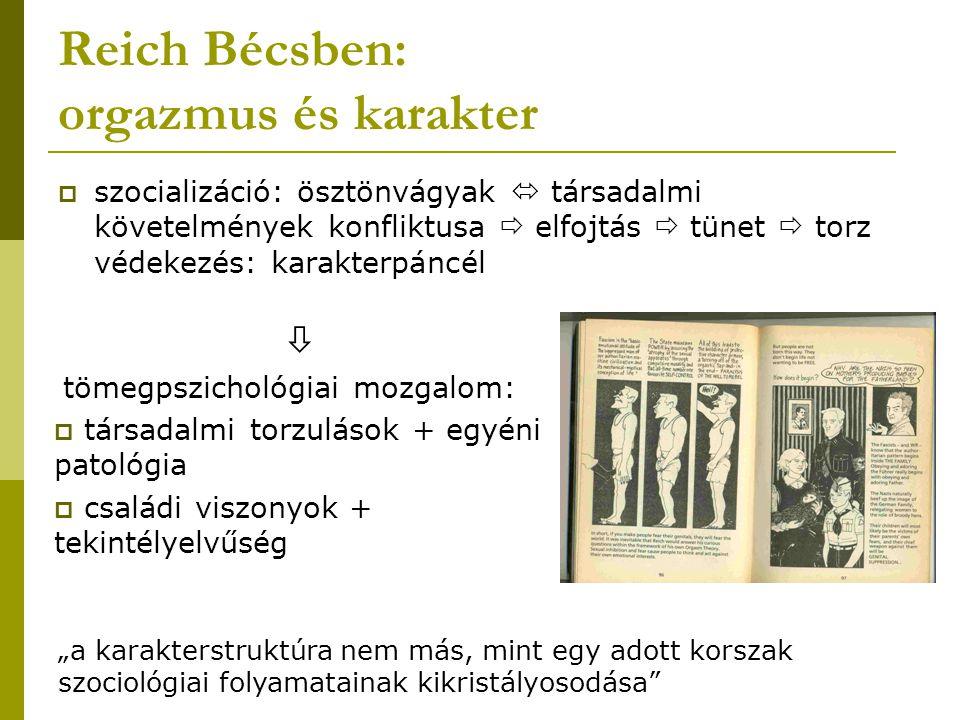 Reich Bécsben: orgazmus és karakter  szocializáció: ösztönvágyak  társadalmi követelmények konfliktusa  elfojtás  tünet  torz védekezés: karakter