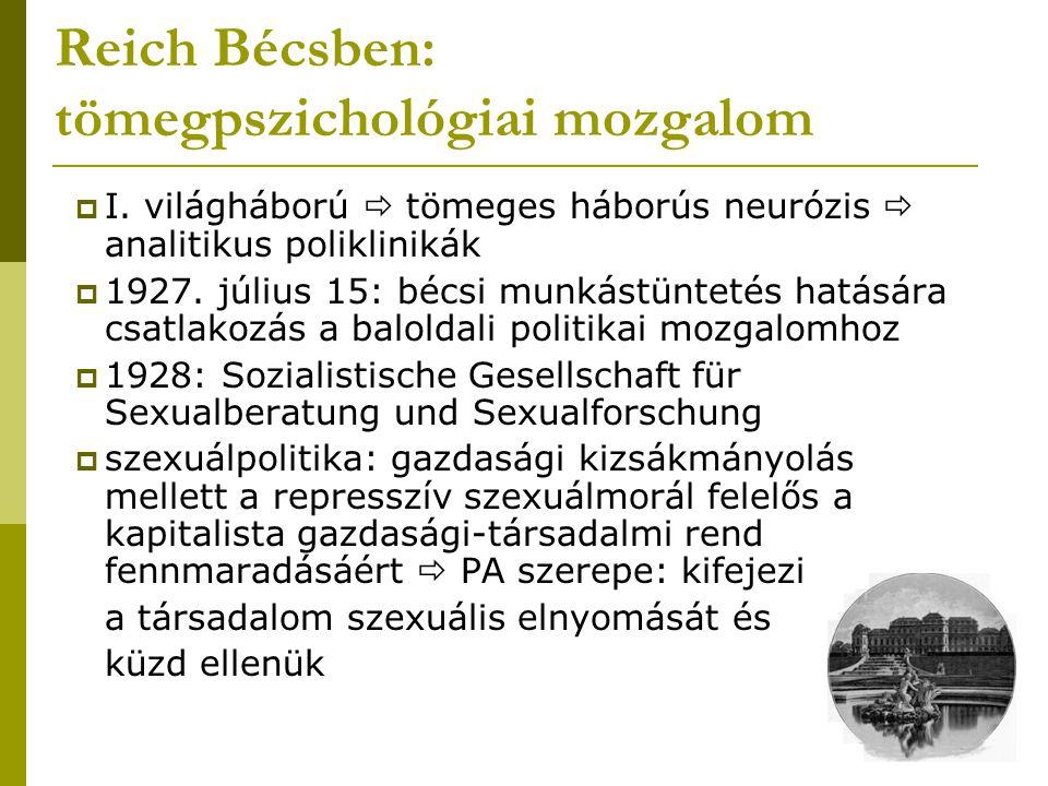  I. világháború  tömeges háborús neurózis  analitikus poliklinikák  1927. július 15: bécsi munkástüntetés hatására csatlakozás a baloldali politik