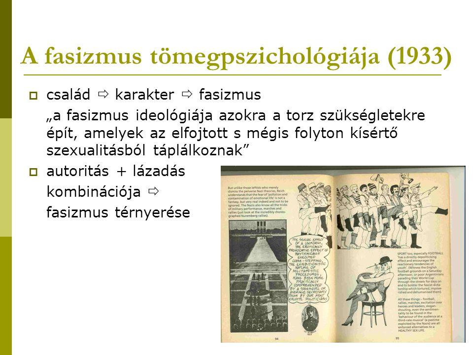 """A fasizmus tömegpszichológiája (1933)  család  karakter  fasizmus """"a fasizmus ideológiája azokra a torz szükségletekre épít, amelyek az elfojtott s"""