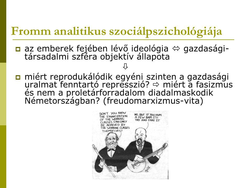 Fromm analitikus szociálpszichológiája  adott társadalmi-gazdasági viszonyok – a család közvetítésével – kondicionálják a karakterstruktúrát  bizonyos társadalmakban: autoritásviszonyok internalizálása, tekintélynek való feltétlen engedelmesség + a kisebbségi, alárendelt helyzetben lévő csoportokra kivetített agresszió (  Freud: adott a társadalmi elnyomás a nyugati kultúrákban)  analitikus szociálpszichológia feladata: a közös, társadalmilag releváns, pszichikus attitűdöket és azok tudattalan gyökereit vizsgálni