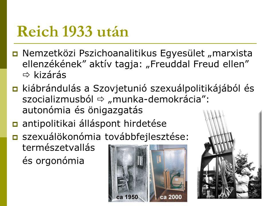 """Reich 1933 után  Nemzetközi Pszichoanalitikus Egyesület """"marxista ellenzékének"""" aktív tagja: """"Freuddal Freud ellen""""  kizárás  kiábrándulás a Szovje"""