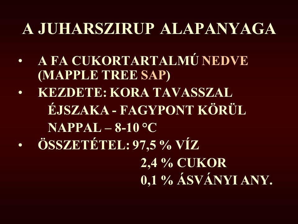 A JUHARSZIRUP ALAPANYAGA A FA CUKORTARTALMÚ NEDVE (MAPPLE TREE SAP) KEZDETE: KORA TAVASSZAL ÉJSZAKA - FAGYPONT KÖRÜL NAPPAL – 8-10 °C ÖSSZETÉTEL: 97,5