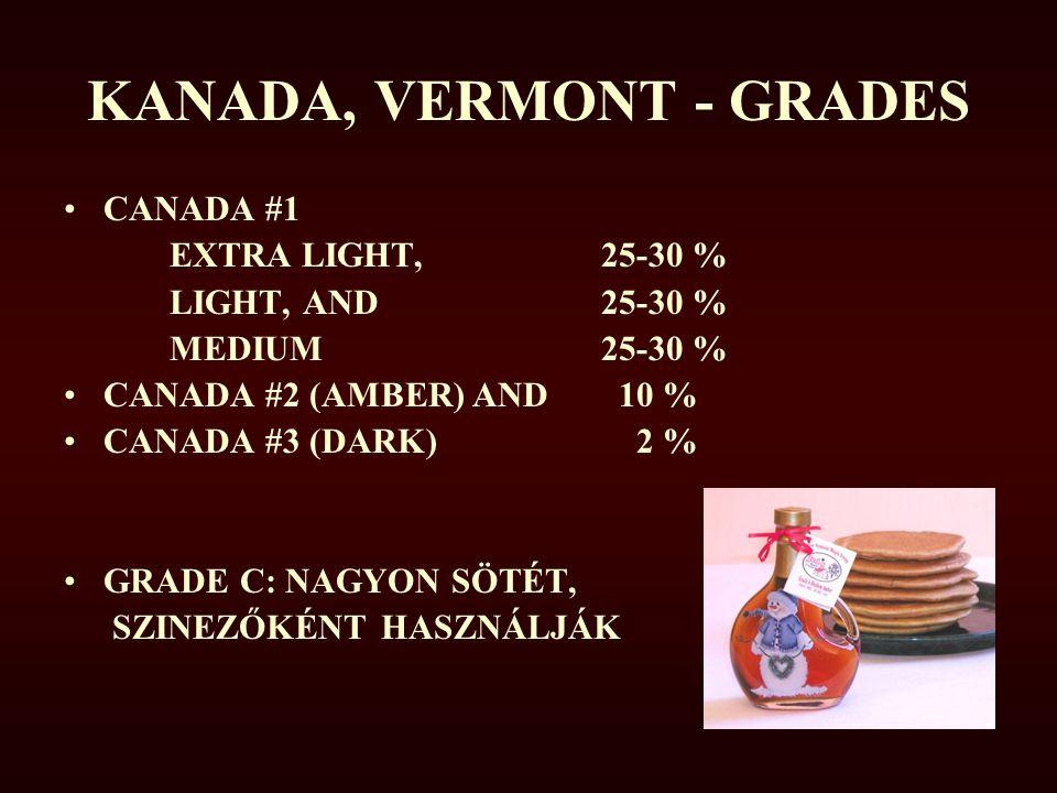 KANADA, VERMONT - GRADES CANADA #1 EXTRA LIGHT, 25-30 % LIGHT, AND 25-30 % MEDIUM 25-30 % CANADA #2 (AMBER) AND 10 % CANADA #3 (DARK) 2 % GRADE C: NAG