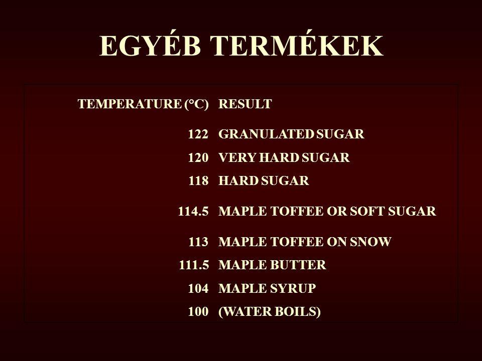 EGYÉB TERMÉKEK TEMPERATURE (°C)RESULT 122GRANULATED SUGAR 120VERY HARD SUGAR 118HARD SUGAR 114.5MAPLE TOFFEE OR SOFT SUGAR 113MAPLE TOFFEE ON SNOW 111