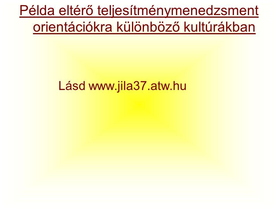 Példa eltérő teljesítménymenedzsment orientációkra különböző kultúrákban Lásd www.jila37.atw.hu