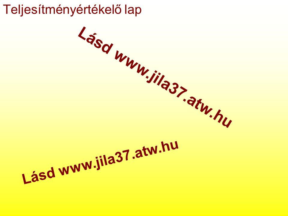 Teljesítményértékelő lap Lásd www.jila37.atw.hu