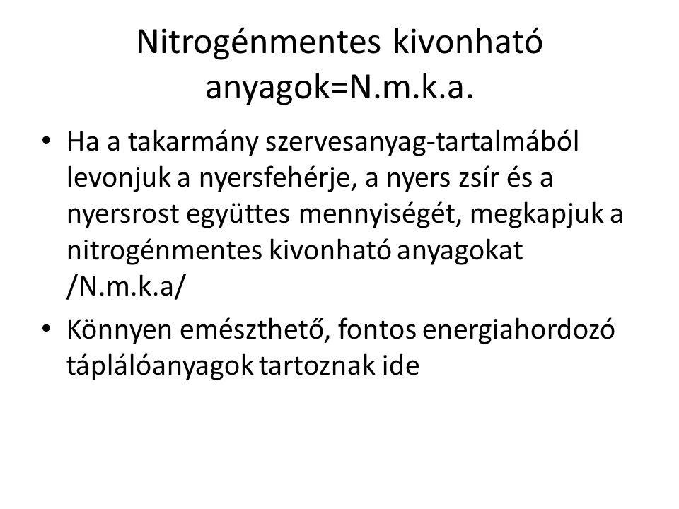 Nitrogénmentes kivonható anyagok=N.m.k.a. Ha a takarmány szervesanyag-tartalmából levonjuk a nyersfehérje, a nyers zsír és a nyersrost együttes mennyi