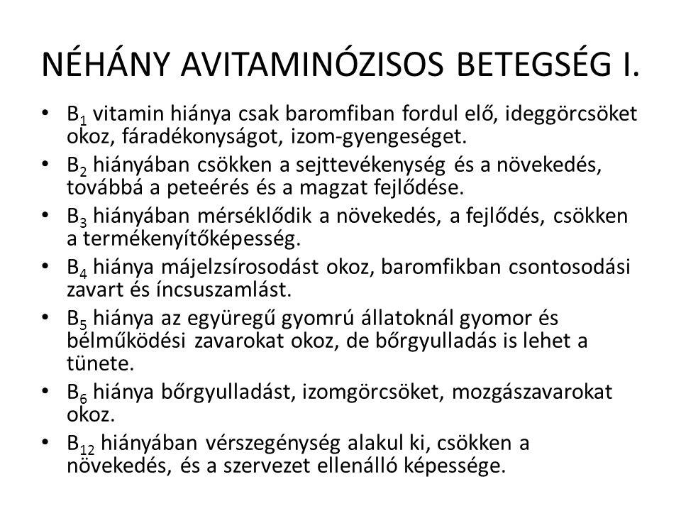 NÉHÁNY AVITAMINÓZISOS BETEGSÉG I. B 1 vitamin hiánya csak baromfiban fordul elő, ideggörcsöket okoz, fáradékonyságot, izom-gyengeséget. B 2 hiányában