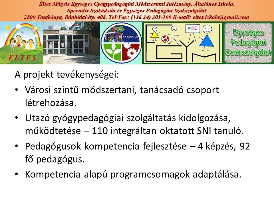 A projekt tevékenységei: Városi szintű módszertani, tanácsadó csoport létrehozása. Utazó gyógypedagógiai szolgáltatás kidolgozása, működtetése – 110 i