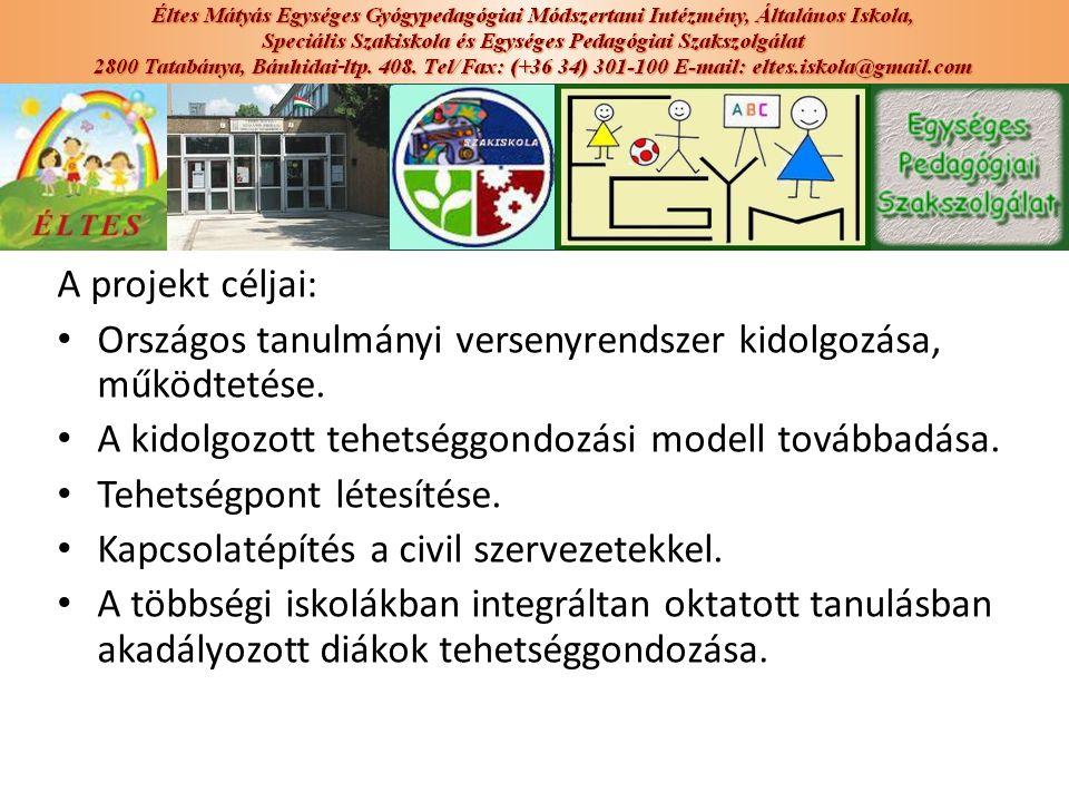 A projekt céljai: Országos tanulmányi versenyrendszer kidolgozása, működtetése. A kidolgozott tehetséggondozási modell továbbadása. Tehetségpont létes