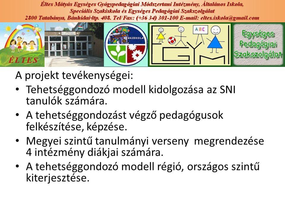 A projekt tevékenységei: Tehetséggondozó modell kidolgozása az SNI tanulók számára. A tehetséggondozást végző pedagógusok felkészítése, képzése. Megye