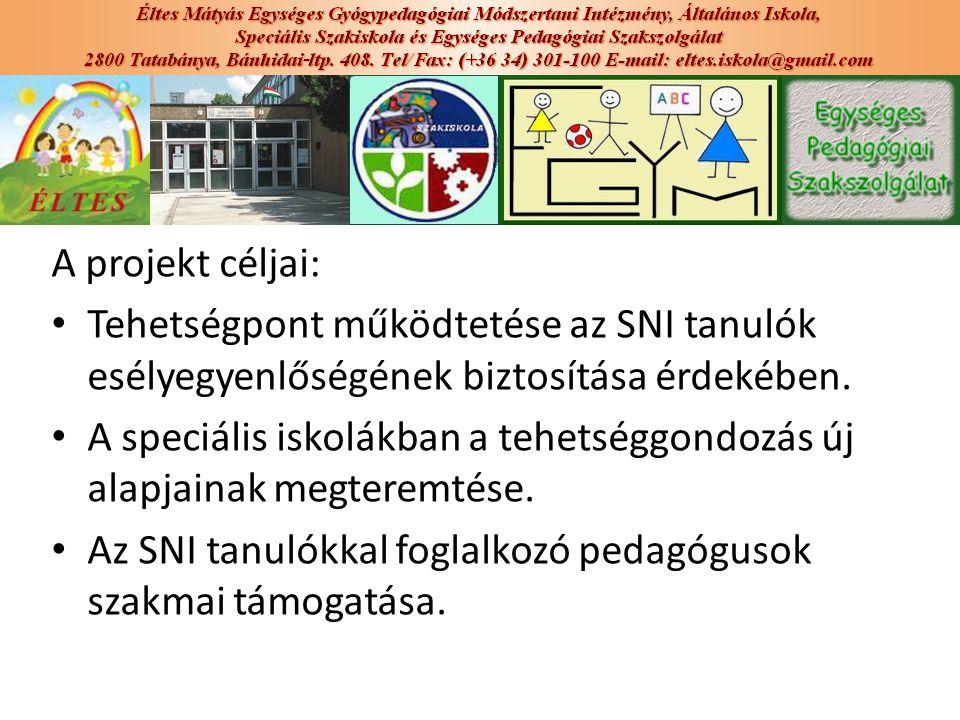 A projekt céljai: Tehetségpont működtetése az SNI tanulók esélyegyenlőségének biztosítása érdekében. A speciális iskolákban a tehetséggondozás új alap