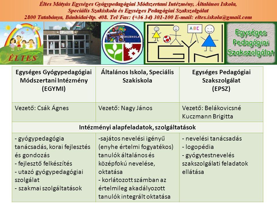 Egységes Gyógypedagógiai Módszertani Intézmény (EGYMI) Általános Iskola, Speciális Szakiskola Egységes Pedagógiai Szakszolgálat (EPSZ) Vezető: Csák Ág