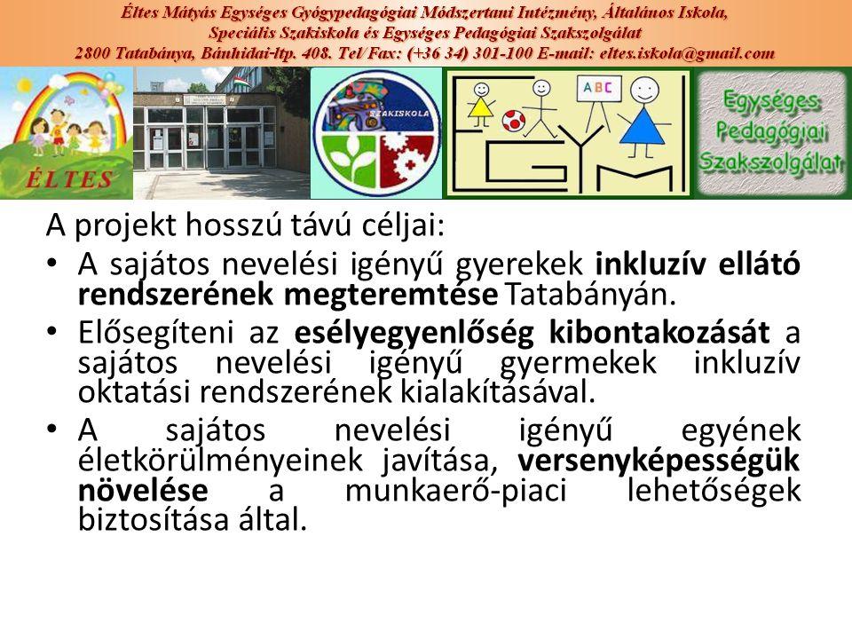A projekt hosszú távú céljai: A sajátos nevelési igényű gyerekek inkluzív ellátó rendszerének megteremtése Tatabányán. Elősegíteni az esélyegyenlőség