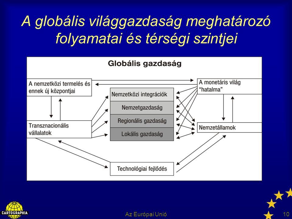 Az Európai Unió10 A globális világgazdaság meghatározó folyamatai és térségi szintjei
