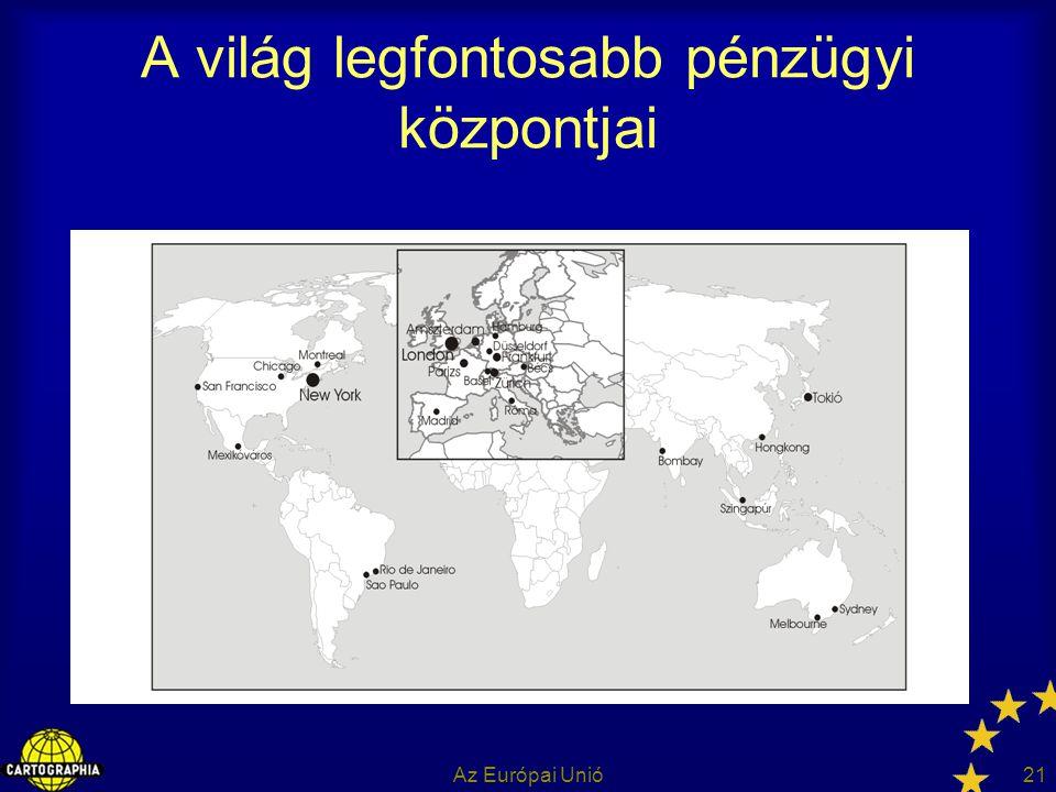 Az Európai Unió21 A világ legfontosabb pénzügyi központjai