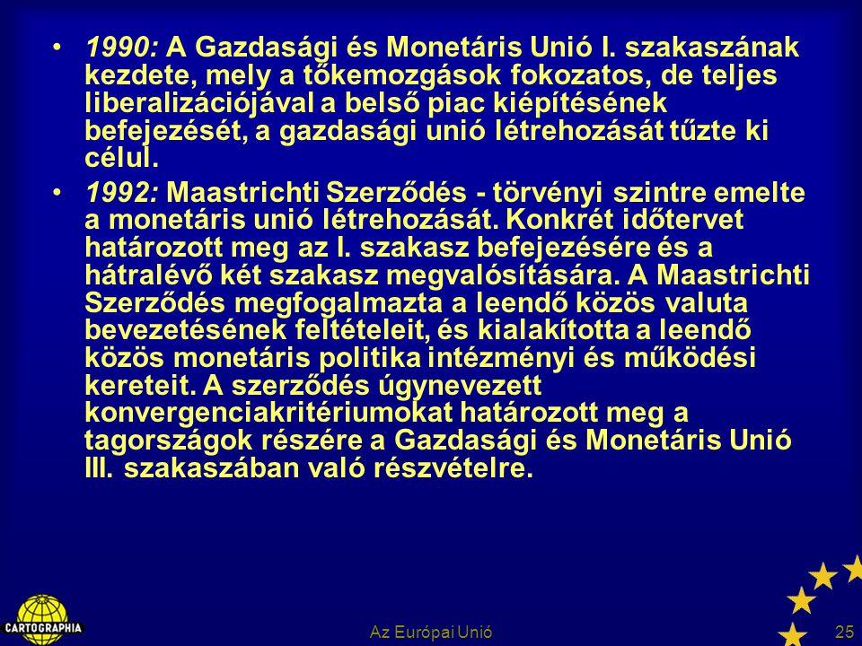 Az Európai Unió25 1990: A Gazdasági és Monetáris Unió I. szakaszának kezdete, mely a tőkemozgások fokozatos, de teljes liberalizációjával a belső piac