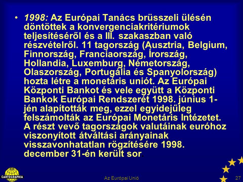 Az Európai Unió27 1998: Az Európai Tanács brüsszeli ülésén döntöttek a konvergenciakritériumok teljesítéséről és a III. szakaszban való részvételről.