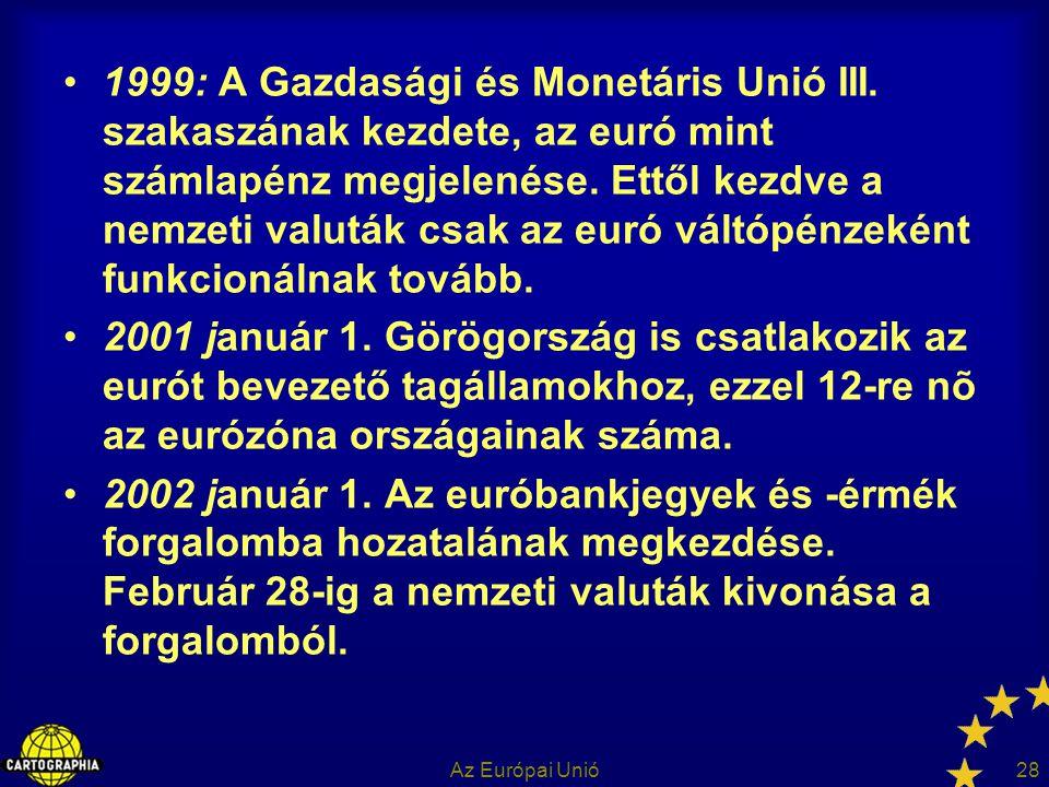 Az Európai Unió28 1999: A Gazdasági és Monetáris Unió III. szakaszának kezdete, az euró mint számlapénz megjelenése. Ettől kezdve a nemzeti valuták cs