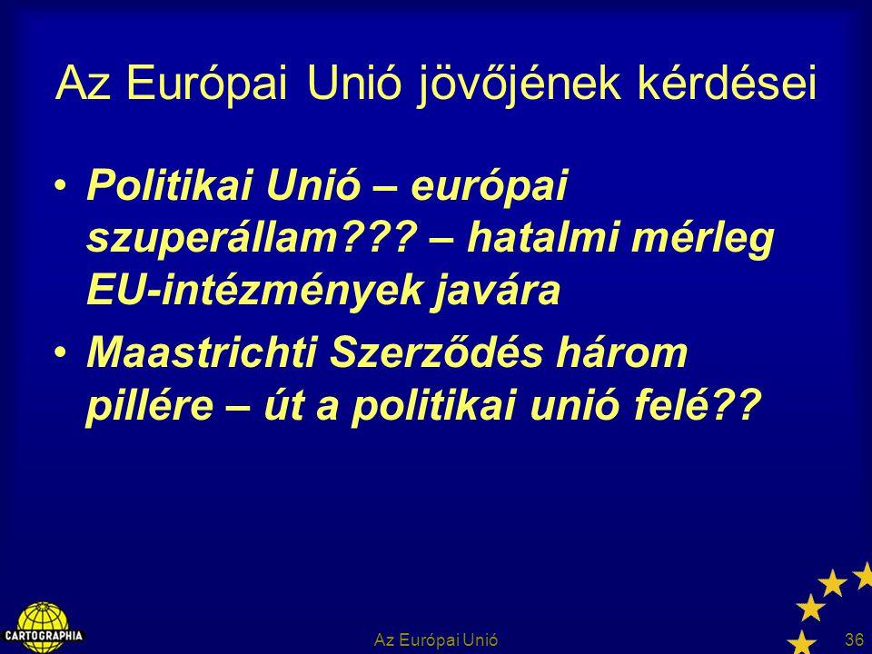 Az Európai Unió36 Az Európai Unió jövőjének kérdései Politikai Unió – európai szuperállam??? – hatalmi mérleg EU-intézmények javára Maastrichti Szerző