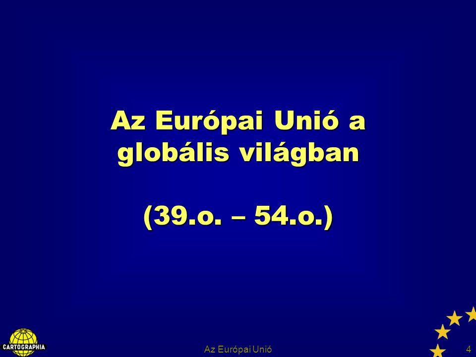 Az Európai Unió35 Az EU jövőjének kérdései A nemzetállami szuverenitás átalakulása Globalizáció – integráció – nemzetállam Konföderális irányzat – EU, mint az államok laza társulása Föderális irányzat – EU, mint az államok szorosabb együttműködése – szövetségi állam – kis és közepes országok érdeke?