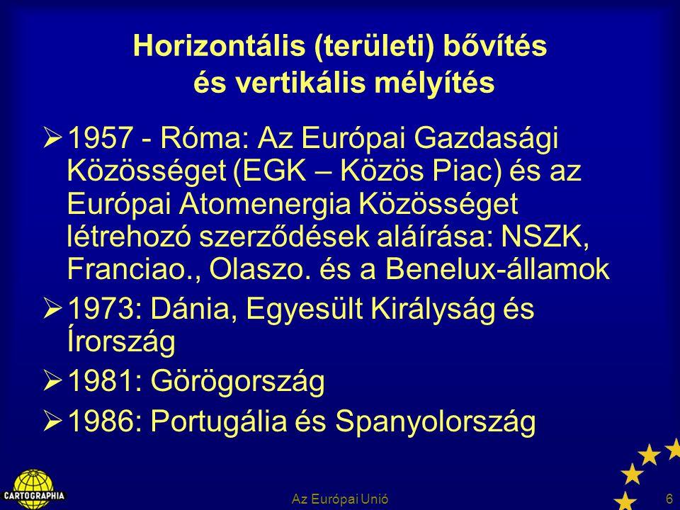 Az Európai Unió7 Horizontális (területi) bővítés és vertikális mélyítés  1992: Maastrichti Szerződés (1993-tól) – az Európai Unió (gazdasági unió)  1995: Ausztria, Finnország és Svédország (a 15-ök EU-ja)  2001: Nizzai Szerződés  2002: monetáris Unió (12 EU tagállamban)  2003 ápr.