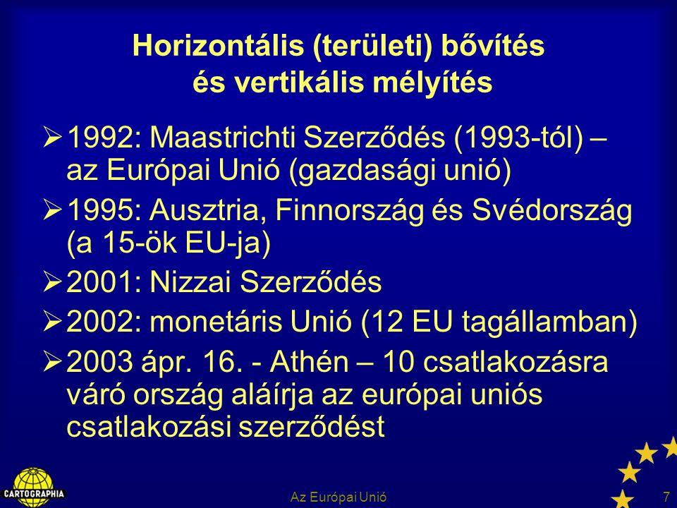 Az Európai Unió7 Horizontális (területi) bővítés és vertikális mélyítés  1992: Maastrichti Szerződés (1993-tól) – az Európai Unió (gazdasági unió) 