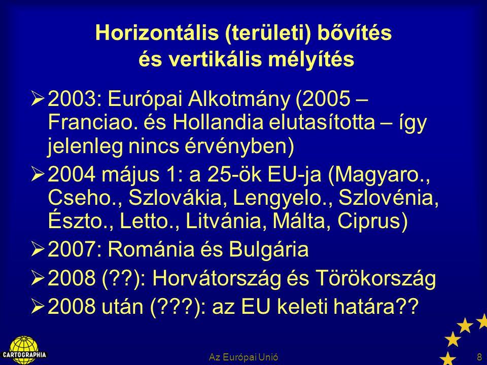 Az Európai Unió8 Horizontális (területi) bővítés és vertikális mélyítés  2003: Európai Alkotmány (2005 – Franciao. és Hollandia elutasította – így je