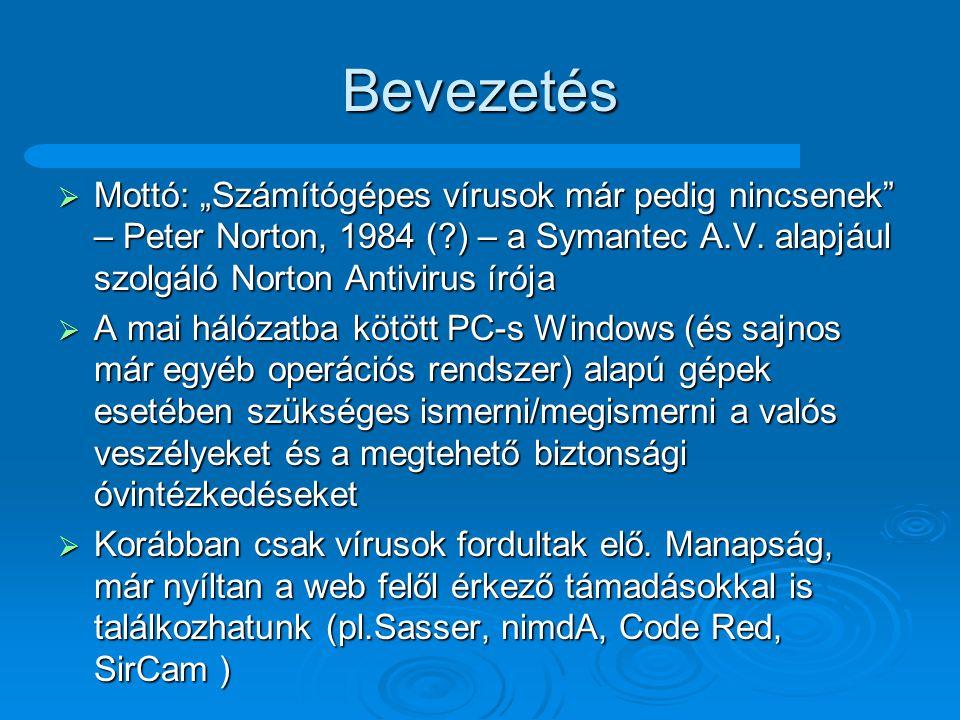 """Főbb témák  Vírusok: definíciók definíciók csoportosítási lehetőségek csoportosítási lehetőségek csoportosítások csoportosítások  Hálózaton keresztüli fertőzések, támadások  Vírusirtás  """"Hasznos hálózati kommunikációs programok  SPAM-ek  Spyware-ek, adware-ek – trójai falovak  Védekezés"""