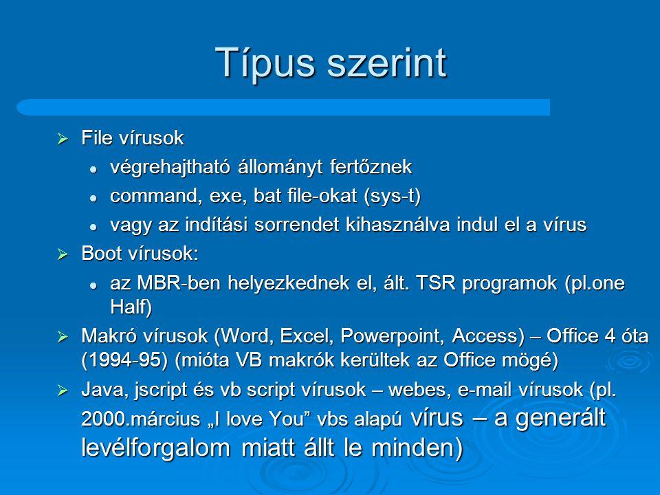 Csoportosítások szerint  Platform szerint: DOS, Windows, OS/2, Linux, Java, Makró DOS, Windows, OS/2, Linux, Java, Makró  Visszakeresés elleni védelem szerint Kódolt vírusok (vírustest kódolt, test + kibontó) Kódolt vírusok (vírustest kódolt, test + kibontó) Polimorf vírusok (változó kódolás) Polimorf vírusok (változó kódolás) Lopakodó vírusok (pl.