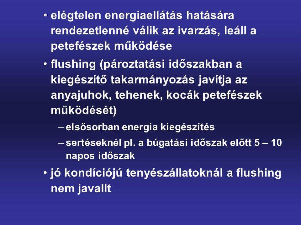 elégtelen energiaellátás hatására rendezetlenné válik az ivarzás, leáll a petefészek működése flushing (pároztatási időszakban a kiegészítő takarmányo