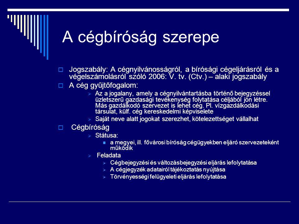 A cégbíróság szerepe  Jogszabály: A cégnyilvánosságról, a bírósági cégeljárásról és a végelszámolásról szóló 2006: V. tv. (Ctv.) – alaki jogszabály 