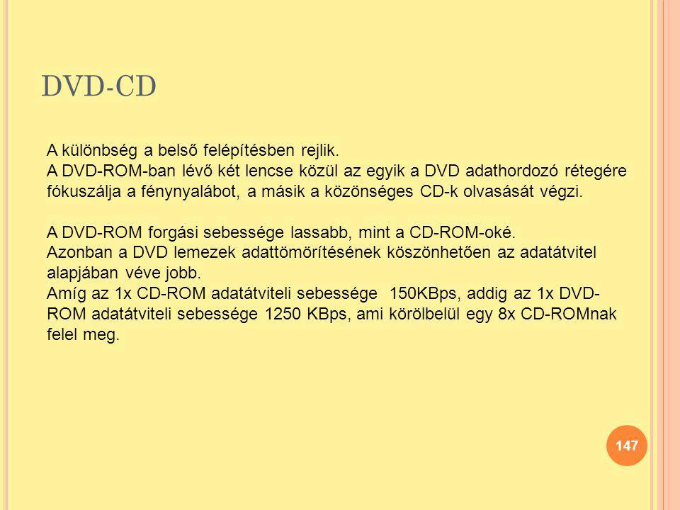 DVD-CD 147 A különbség a belső felépítésben rejlik. A DVD-ROM-ban lévő két lencse közül az egyik a DVD adathordozó rétegére fókuszálja a fénynyalábot,