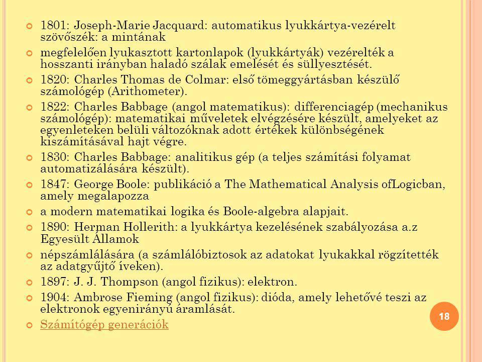 1801: Joseph-Marie Jacquard: automatikus lyukkártya-vezérelt szövőszék: a mintának megfelelően lyukasztott kartonlapok (lyukkártyák) vezérelték a hoss